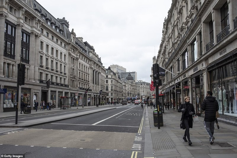 Regent Street in London – usually one of the busiest shopping streets in the country – appeared bereft of visitors yesterday after the Government said said the true number of people infected with the coronavirus could be as high as 10,000 already