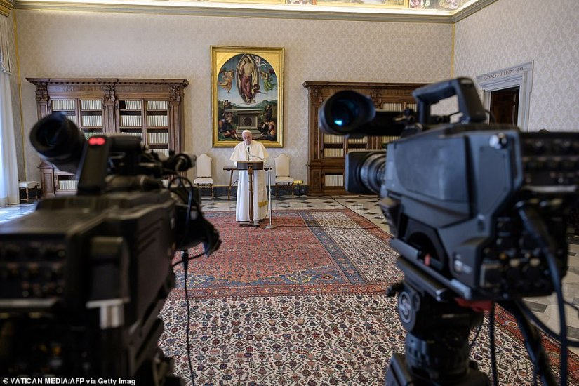 Streaming sermons have already been implemented, and before handing over his blessing from the balcony today, Francis was filmed praying safely in the Vatican's private library