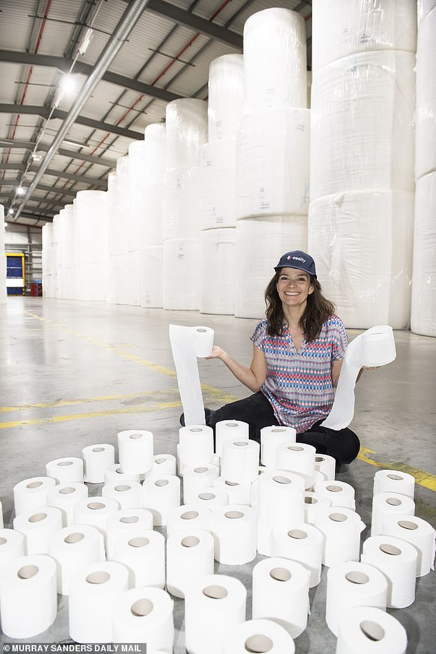 The Daily Mail's Jane Fryer paid a visit to the Essity toilet roll factory in Manchester on Thursday to find out more about the UK's largest toilet roll producer, behind her are enough parent rolls of paper to make a million rolls