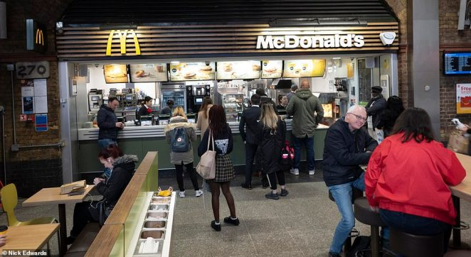 McDonalds at London Waterloo station was quiet but still open hours after Boris Johnson told Britons to avoid social contact
