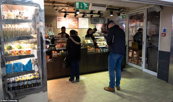 A Costa Cafe in Waterloo was also continuing to serve customers today, despite millions of Britons working from home
