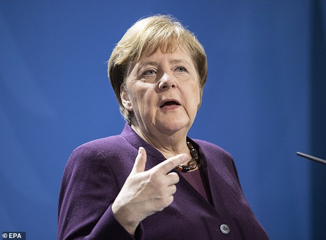 Chancellor Angela Merkel (picture yesterday) announced that assemblies in churches, mosques and synagogues would be banned and playgrounds and non-essential businesses closed as soon as the country reached 7,000 confirmed cases and 14 deaths