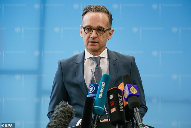 Federal Foreign Minister Heiko Maas (pictured at a press conference today) said the government had made around 50 million euros available to bring home the thousands of German citizens who were stuck abroad