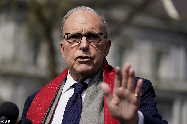 President Trump's financial adviser Larry Kudlow has been claiming the outbreak is 'contained' in the US, which Dr Varshavski says is not true. Pictured: Kudlow speaks to reporters about the economic impact of the coronavirus outbreak, March 16