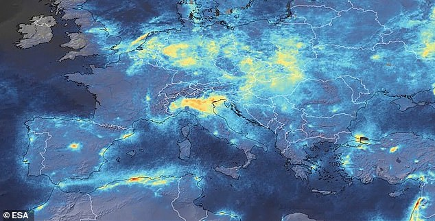 Satellite images from the European Space Agency and NASA show a dramatic reduction in the amount of harmful greenhouse gas emissions in the atmosphere. The top image from January shows high levels of NO2 over northern Italy. By March (bottom) that had almost disappeared
