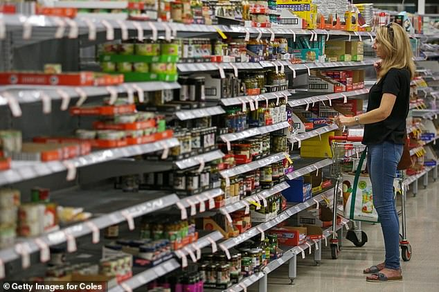 Shoppers buying their weekly groceries have discovered shelves at supermarkets such as Coles and Woolworths have been