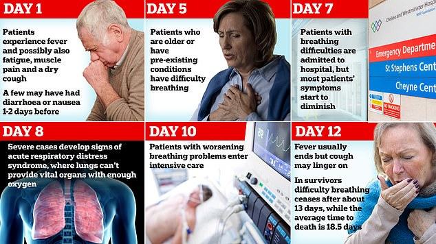 A breakdown of COVID-19 symptoms based on two studies shows the progression of the illness. The UK government says that if you live with others and you or one of them have symptoms of coronavirus, then all household members must stay at home and not leave the house for 14 days