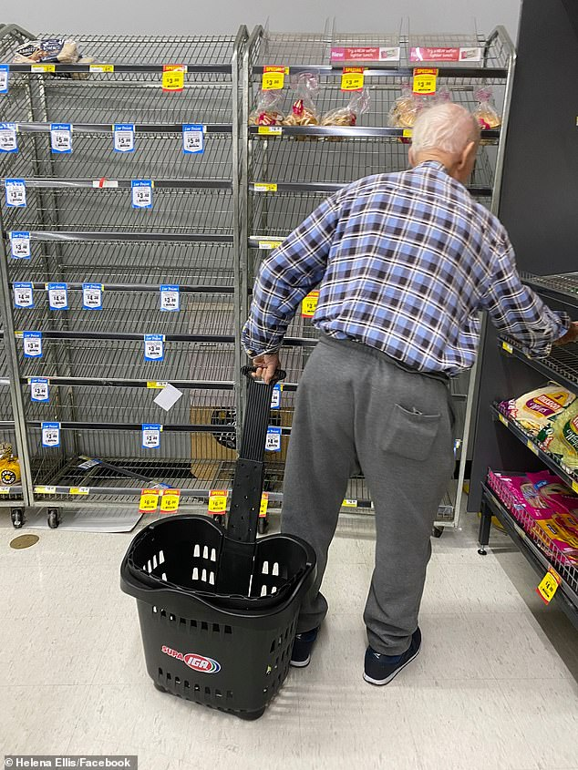 A photo of an elderly man staring at an empty shelf of bread at IGA offers a tragic insight into the impact coronavirus panic-buying is having on older Australians