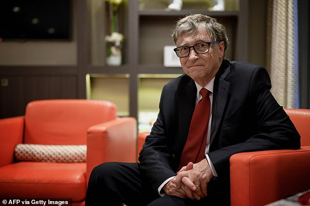 Bill Gates, pictured, has urged everyone to 'stay calm' during the coronavirus pandemic and claimed that some recent doomsday projections are 'too negative' (file photo)