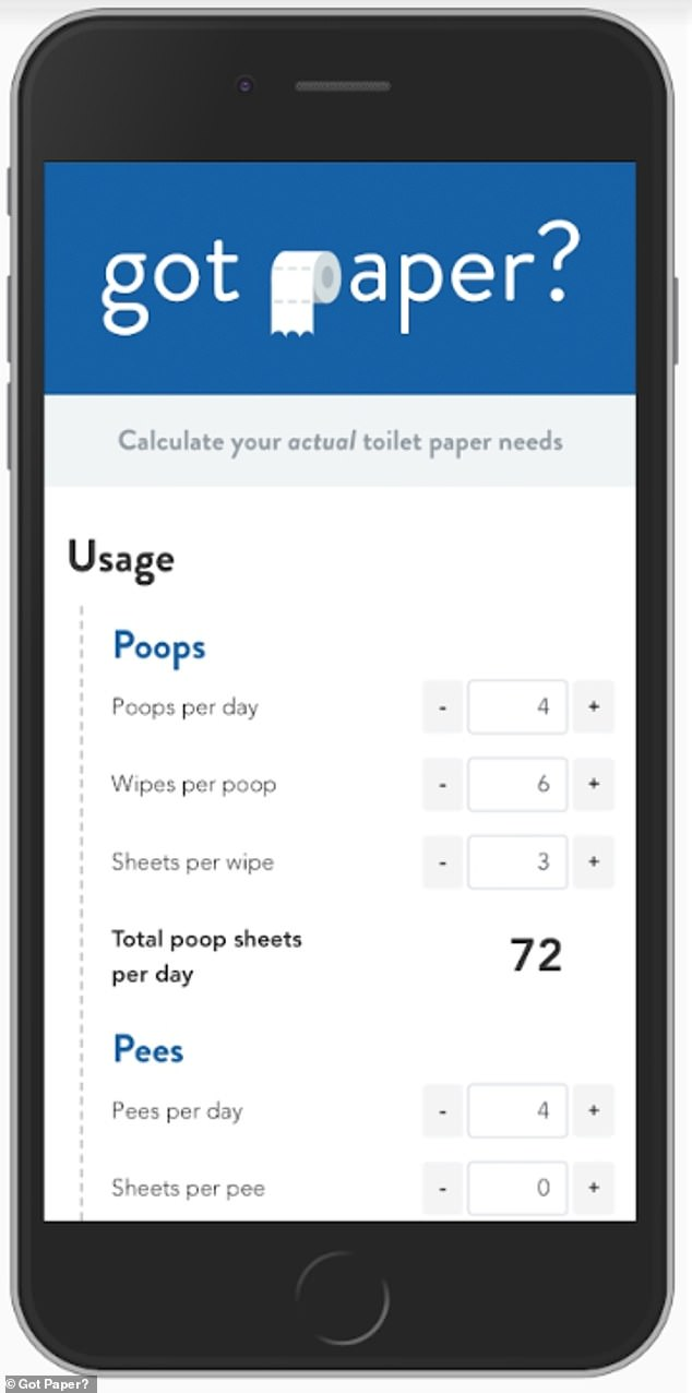 The app works out a total you will need over a certain time period by multiplying sheets per wipe with wipes per poop and poops per again - and then the same with pees