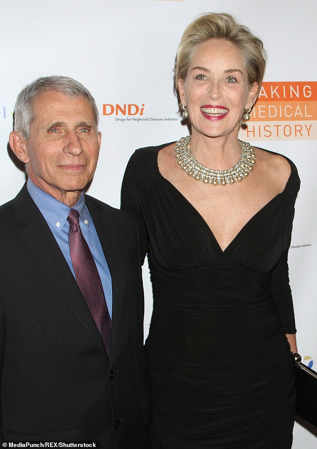Pals: Recently Stone was honored along with her good friend Dr. Anthony Fauci at the Treatment Action Group's virtual Research in Action Awards, she for leadership in AIDS advocacy and he for public health leadership. They're shown together in October 2018