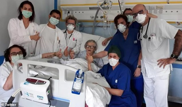 Grandmother Alma Clara Corsini (centre), 95, from Fanano, Modena, Italy, has recovered from the coronavirus