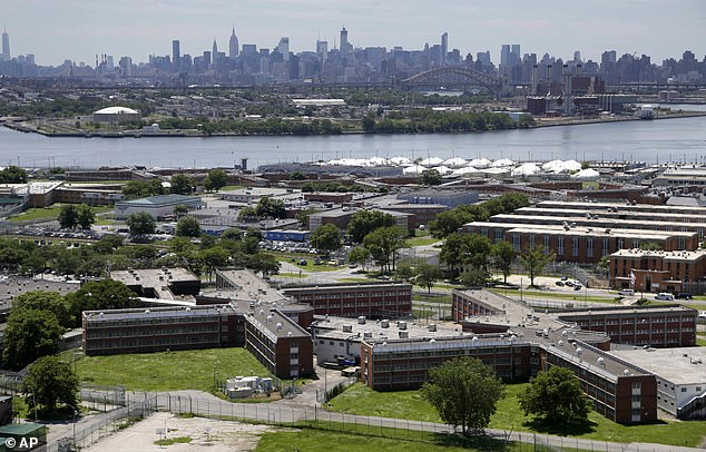 Last month, Weinstein is said to have told prison staff he believed he had the virus when he entered the state prison system from notorious Rikers Island (pictured) where a number of inmates have the virus.