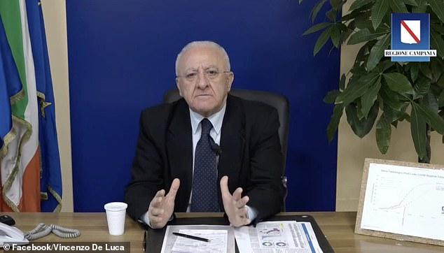 Vincenzo de Luca, mayor of Campania, warned people trying to throw graduation parties at home during the coronavirus lockdown that 'we will send the police with flamethrowers'