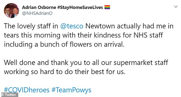 NHS workers took to social media today to thank people working in supermarkets who gave them flowers today
