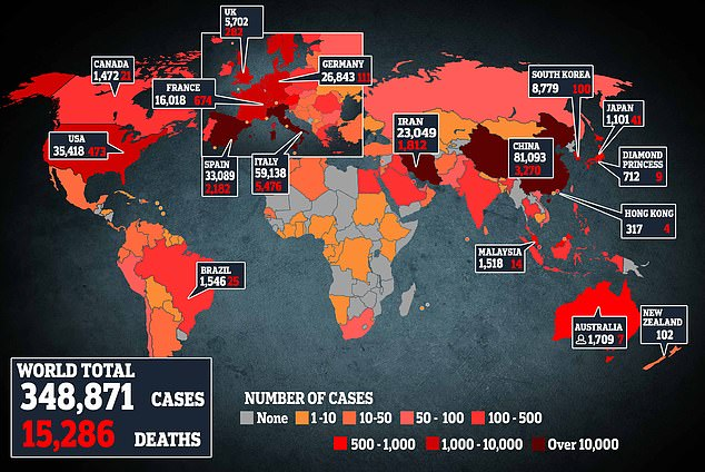 This map shows the latest number of coronavirus cases worldwide, with a global death toll of over 15,000