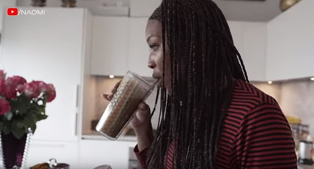 This cocktail is a meal in itself, says Naomi Campbell as she shows them how to make it in a video online