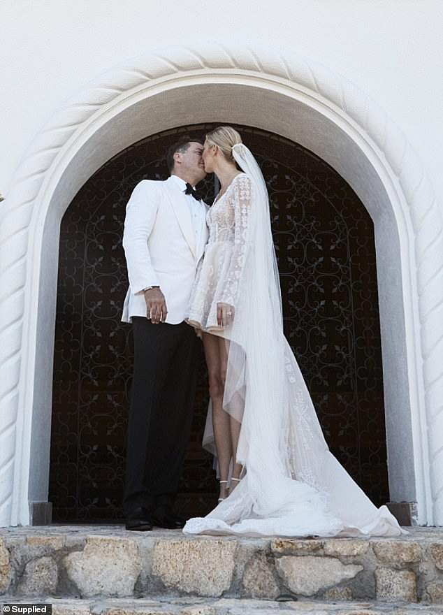 Happily ever after:In December, Karl and Jasmine celebrated their one-year anniversary after tying the knot in Los Cabos, Mexico, in late 2018. Pictured on their wedding day