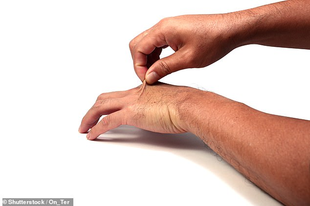 Mr Paul Banwell, a British plastic and cosmetic surgeon, has revealed how you can test the age of your hands with four simple home tests - starting with pinching the skin at the tops of your hands and seeing how long it takes to bounce back
