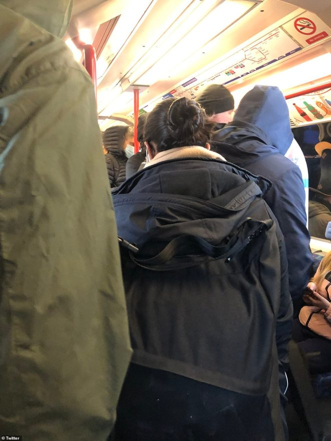 Tube trains were packed again today despite the Government's unprecedented lockdown that started just hours earlier to save lives and take pressure off the NHS