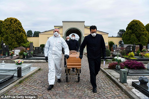 Lombardy is at the center of the coronavirus crisis in Italy, reported more than 300 deaths yesterday and represents almost half of the nation's total (in the photo, the ball bearers take the coffin of a victim for burial in a cemetery in Lombardy )