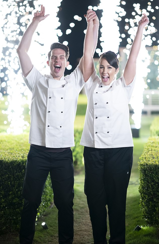 Winners:Jake and Elle Harrison (pictured) won My Kitchen Rules: The Rivals during a tense finale on Tuesday night