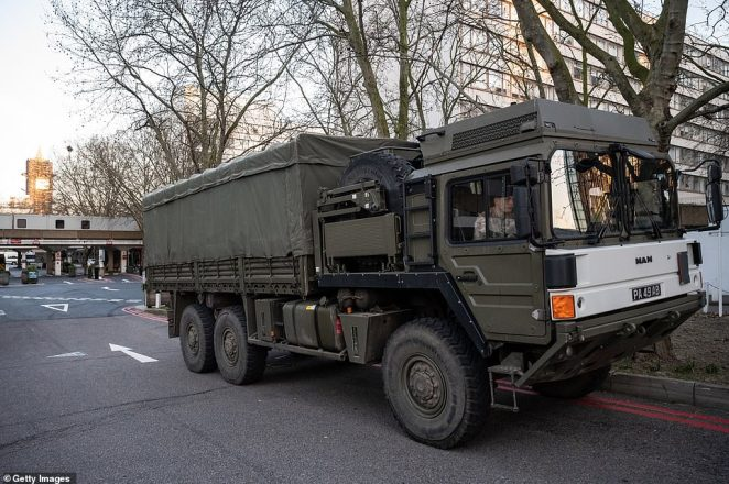A military lorry is seen as members of the 101 Logistic Brigade deliver the masks to St Thomas' Hospital in London today