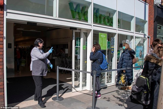Waitrose in Kings Road. Chelsea had staff managing how many people could enter and the distance they were separated