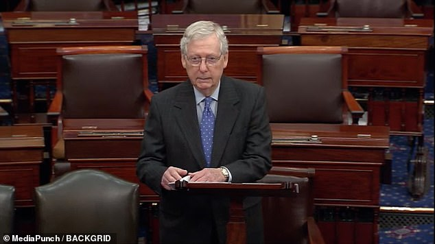 Senate Majority Leader Mitch McConnell urged Democrats to let the latest version of the bill pass on Tuesday.'Every day, every hour that Congress delays on passing a significant relief package, we risk more American livelihoods and the safety of more healthcare professionals,' he said from the Senate floor