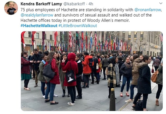 Allen writes he did tell Hachette that there would 'undoubtedly be blow back' about his memoir from people wanting to 'suppress it by any means necessary'. Pictured: The Hachette employee walkout
