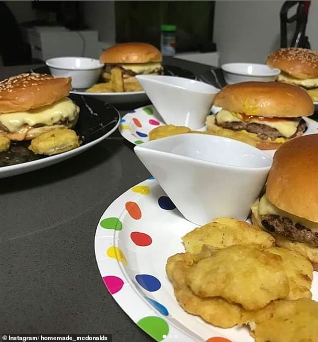 Meanwhile another person shared a snap of their homemade burgers and replicated chicken nuggets, which she served with chips (pictured)