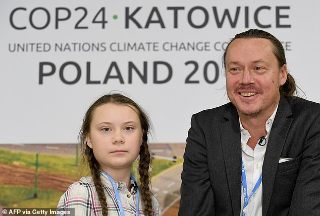 Greta Thunberg Svante's father (pictured at a press conference during the COP24 summit) also suffered from coronavirus he had contracted while touring Europe with his daughter