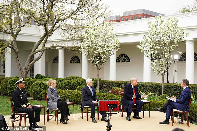 Trump was joined by Surgeon General Jerome Adams (left), Dr. Deborah Birx (second fro left) and Vice President Mike Pence – and were interviewed by Fox News' Bill Hemmer (right), as well as by Americans who sent in video asking questions