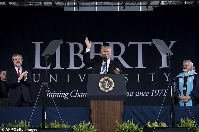 College President Jerry Falwell Jr. (left) is one of President Donald Trump's biggest supporters. The commander-in-chief is pictured delivering the school's 2017 commencement address