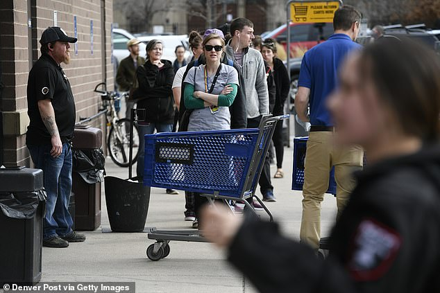 On Monday evening the city's Twitter page announced the amendment, but warned 'extreme physical distancing' must be practiced in those retail spaces after huge crowds turned out at liquor stores and dispensaries across the city