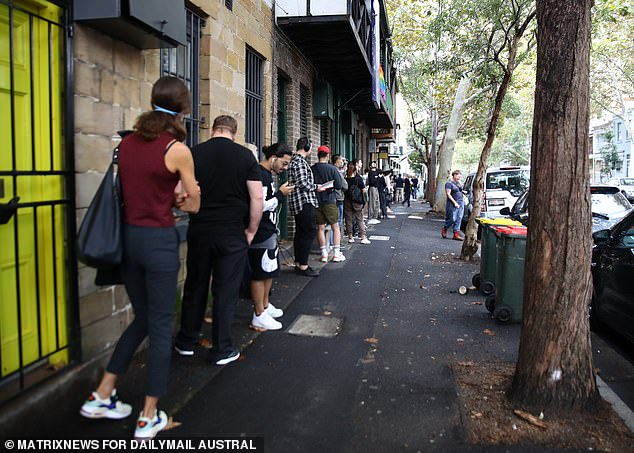 The long queue outside Centrelink Darlinghurst in Sydney on Monday morning, hours after the Prime Minister announced stage one of the coronavirus lockdown