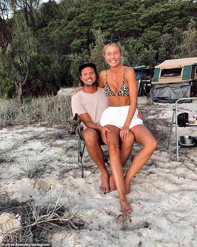 'Not a good look': Fans have accused Myer model Elyse Knowles , 27, (right) of being 'insensitive' after she shared a post about her idyllic getaway to Queensland's Moreton Island with boyfriend Josh Marker (left)  - while making no mention of the deadly coronavirus pandemic.