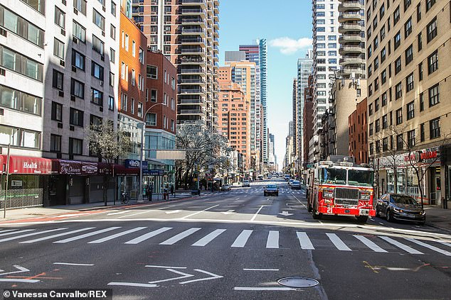 Empty streets in Manhattan are seen on Tuesday during the coronavirus lockdown