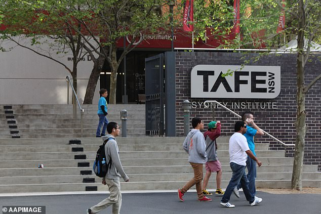 TAFE classes will be suspended as of Monday due to the coronavirus lockdown (Pictured: TAFE campus in Sydney)
