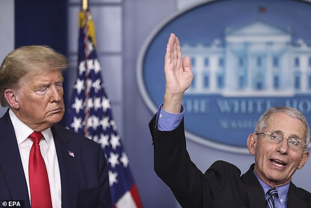 President Trump (left) had Dr. Tony Fauci (right) briefly speak at Tuesday's White House briefing. He didn't have either doctor comment when he was asked why he wants American businesses to reopen around Easter Sunday