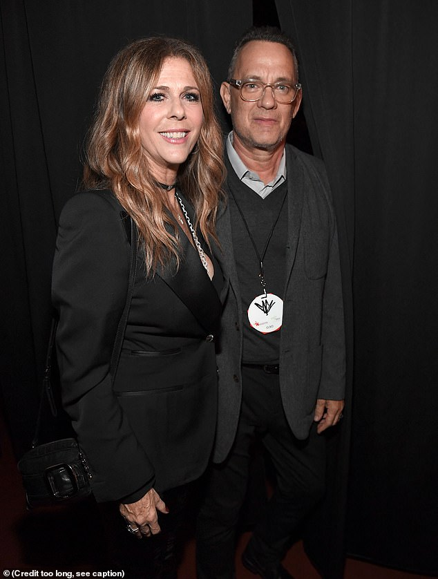 Paying tribute: Tom Hanks and Rita Wilson, who have both tested positive for coronavirus, attended a tribute to Cornell in LA in January of 2019