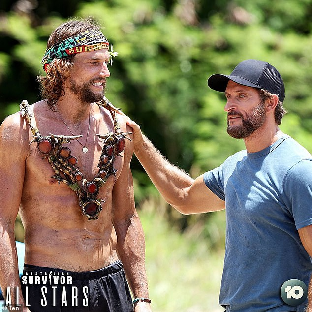 '...they can't win against Dave, and they can't beat Dave in the next challenge': Newly eliminated Brooke Jowett begged Moana and Sharn to save her at Tuesday's tribal council by telling them they couldn't win against the favourite (Pictured with hostJonathan LaPaglia)