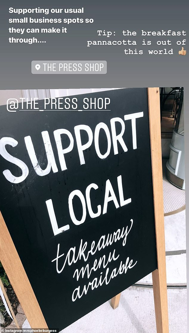 Helping out:While she told her followers to 'stay home' and only go to the shops for essentials, she showed support for a local Bowral cafe by popping out for a takeaway coffee and breakfast