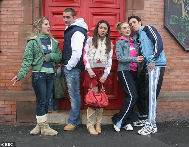 The way they were: The pair are pictured with their onetime castmates (L-R) Natalie Casey, Kathryn Drysdale and Ralf Little in 2006