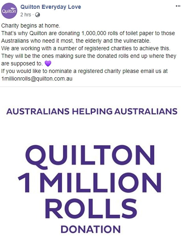 Manufacturer Quilton will donate one million rolls to struggling Australians who need it most