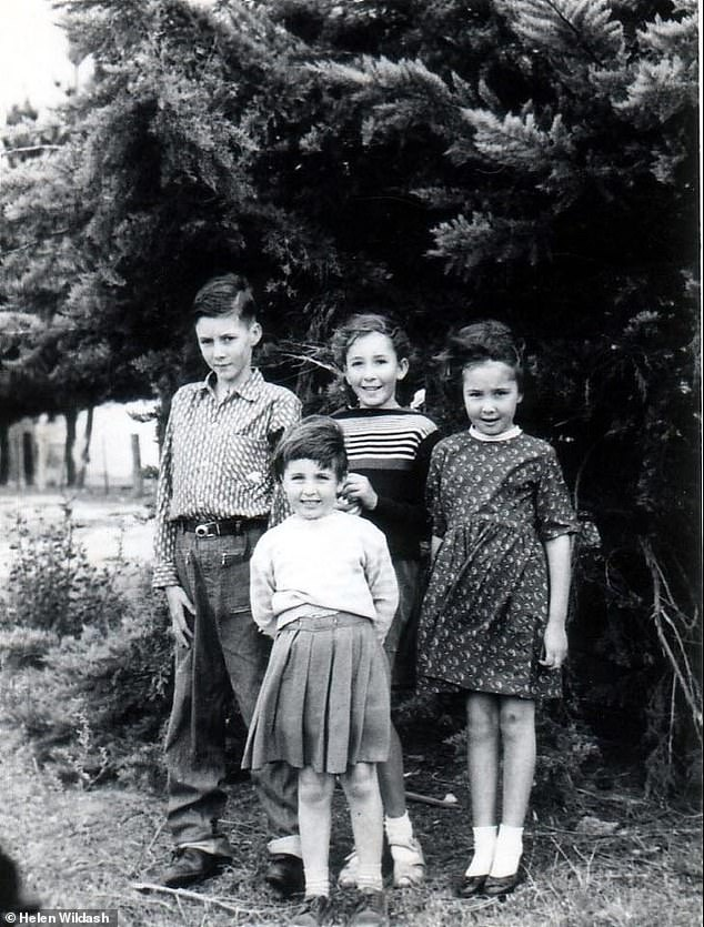 Mrs Olds (far right) with three of her seven siblings in 1963