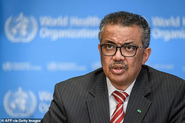 The figures come just days after WHO Director GeneralTedros Adhanom Ghebreyesus (pictured) warned young people they are not 'invincible'