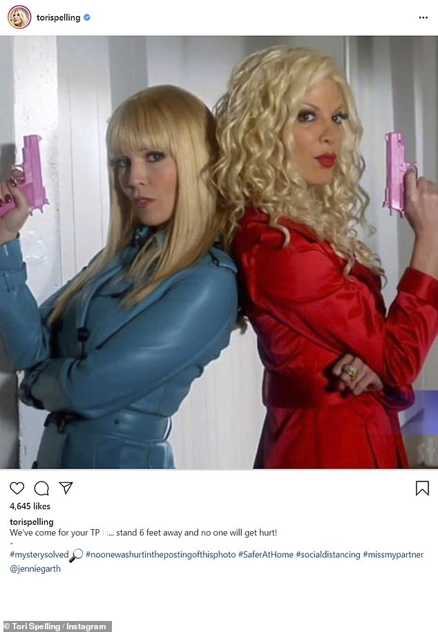 Girl power! Tori Spelling poked fun at the current obsession with toilet paper