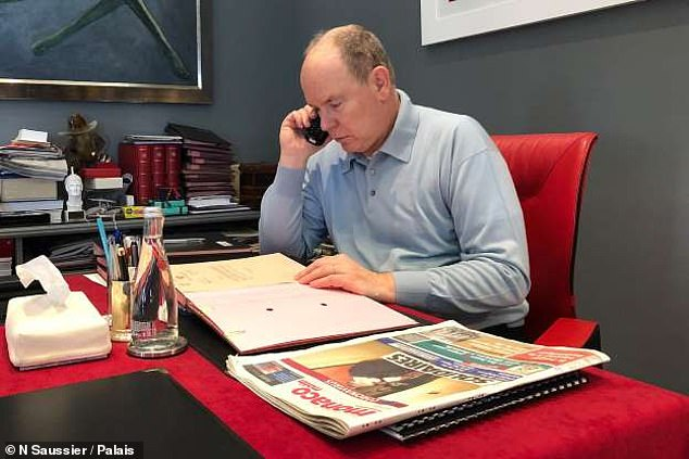 MONACO: Prince Albert II Monaco published this photo of him in self-isolation after he was confirmed to have COVID-19. The royal, who shares twins Jacques and Gabriella with wife Queen Charlene, is now feeling better and has since carried out a handful of engagements