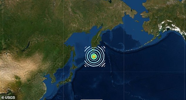 A map showing where the earthquake struck, off the coast of the Russian-controlled Kuril Islands. Some of the islands are disputed with Japan